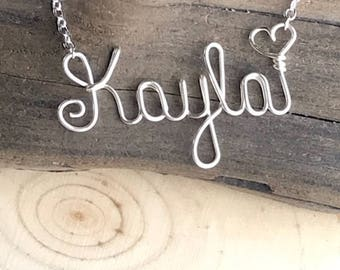 Wire wrapped Name Necklace, Custom Name Necklace- Wire Word Necklace- Bridesmaid gifts- Personalized name jewelry-