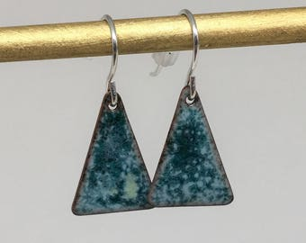 Turquoise blue triangle enamel earrings hand made simple colorful earrings
