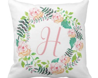 Watercolor Floral Wreath Monogram Throw pillow  Personalized Girl Nursery Throw Pillow   New Baby Gift  Decorative Pillow