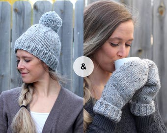 Knitted Hat and Mitten Set in Light Gray- Wool Grey Beanie and Mittens