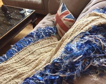 Blue, Ivory Cream Fringe Throw Blanket Afghan Lap Warmer Hand Knit Sofa Throw