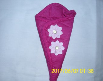 Pink-Fuschia Scissors Holder / Hand Stitched / Upcycled Scissors Holder /  Pink Flowers With Rhinestones / Household Helper