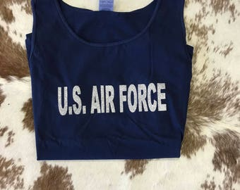 GLITTER US Air Force Comfort Color Tank - Glitter vinyl - tank top - tanktop - glitter tank
