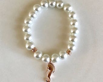 White pearl flower girl bracelet with rose gold sea horse charm  - Flower girl jewelry - Bridal jewelry