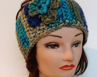 Crocheted Headband with Flower, Ear Warmer, Handmade, Made to Order