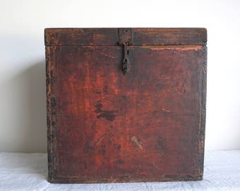 Red Box Wooden Manuscript Box Painted Box Antique Box