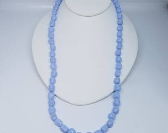 "Pale blue beads in 5/8"" irregular shapes necklace"