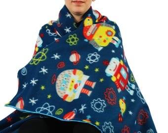 Robots fleece blanket, throw blanket, lap blanket