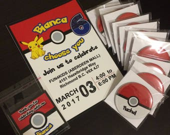 Pokemon Theme Party Pack - Personalize Party Favours - Pokemon Gifts - Pokemon Birthday Invitations Personalize Value Party Package for 12