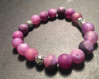 Unisex Purple Agate Bracelet