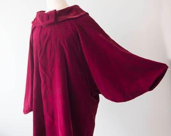 Red Velvet Coat, Vintage Red Velvet Coat, 50's Coat