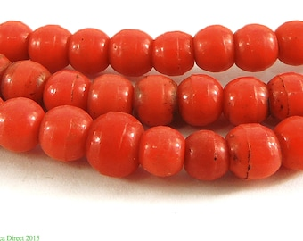 Prossers Trade Beads Red Molded African 93815
