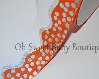 "3"" Torrid Orange Silver Holographic Wavy Dot, Cheer Bow Ribbon, Wide Grosgrain Ribbon"
