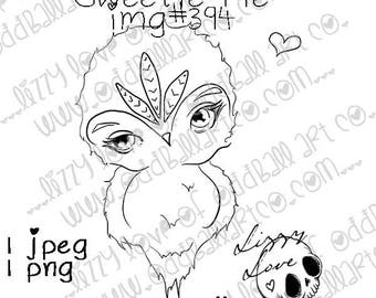INSTANT DOWNLOAD Big Eye Owl Digital Stamp - Sweetie Pie Image No.394 by Lizzy Love