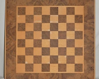 Vintage Hand Made Chess Board Walnut Burl and Ash Wood Unfinished Checkers