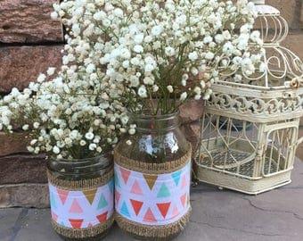 Mason Jar Wrap, Tribal Triangle, Coral, Gold, Aqua, Wedding, Shower, Party, Centerpiece, Decoration