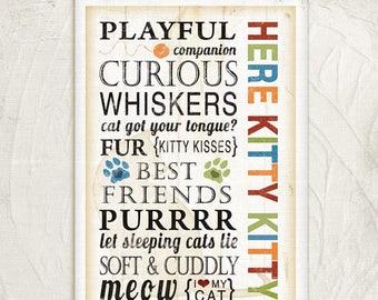 Here Kitty Kitty - 12x18 Art Print -Inspirational, Word Art, Subway Art, Animals, Wall Decor -Orange, Red, Green, Blue, White