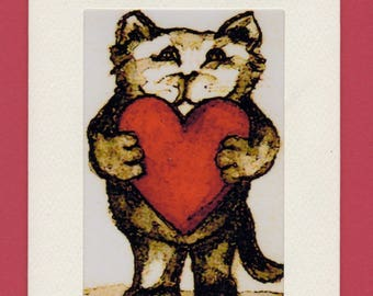Set of Three Gift Cards-Valentines-Whimsical Cat Art by SQ Streater-Free Shipping