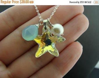 Swarovski Crystal Starfish Aqua Blue Chalcedony Sterling Silver Beach Necklace