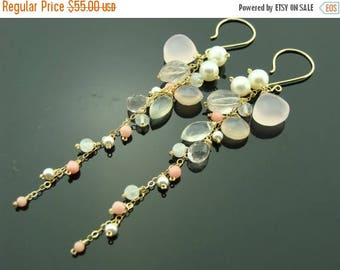Rose Quartz Pink Chalcedony Coral Pearl 14K Gold Filled Cascade Earrings