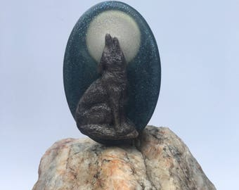 Wolf Howling at the Moon Olive Oil Glycerin Soap - Leather & Cedar - Vegan, Handcrafted