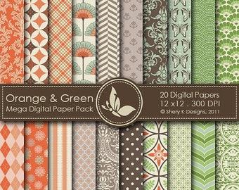 40% off Orange & Green Mega Paper Pack - 20 Printable Digital papers - 12 x12 - 300 DPI