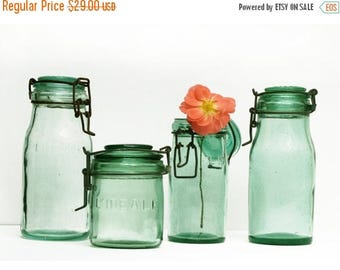1 antique Green french canning jar , L'IDEAL , medium Size , french country decor , green glass storage