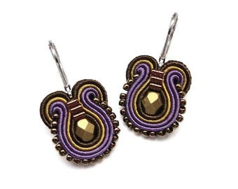 Purple Earrings Purple Drop Earrings Soutache Earrings Purple and Gold Earrings Purple and Gold Drop Earrings Purple Dangle Earrings