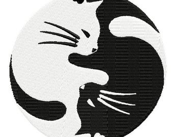 Instant Download Kitty Yin Yang Black and White Instant Download embroidery design - Machine Embroidery Design - Digital Design File