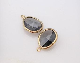 Jewelry Making Supplies, Gold Charcoal Teardrop Stone Pendant, Light Black Crystal Glass Stone connector, Gemstone Bead Pendant,2 pc, JW8227