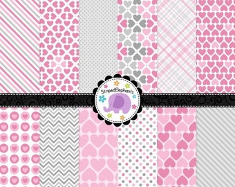 40% OFF SALE Pink and Gray Heart Digital Paper Pack, Pink Hearts Digital Scrapbook Paper, Hearts Digital Backgrounds, Commercial Use