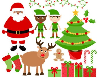 Christmas Clipart - Santa Clip Art - Digital Christmas Graphics - Instant Download - Commercial Use