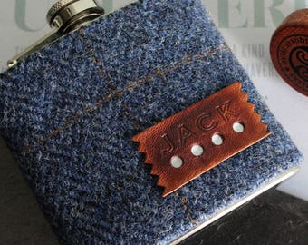 Bespoke tweed check  personalised hipflask gift, groom gift, wedding gift, bestman, father of the bride gift