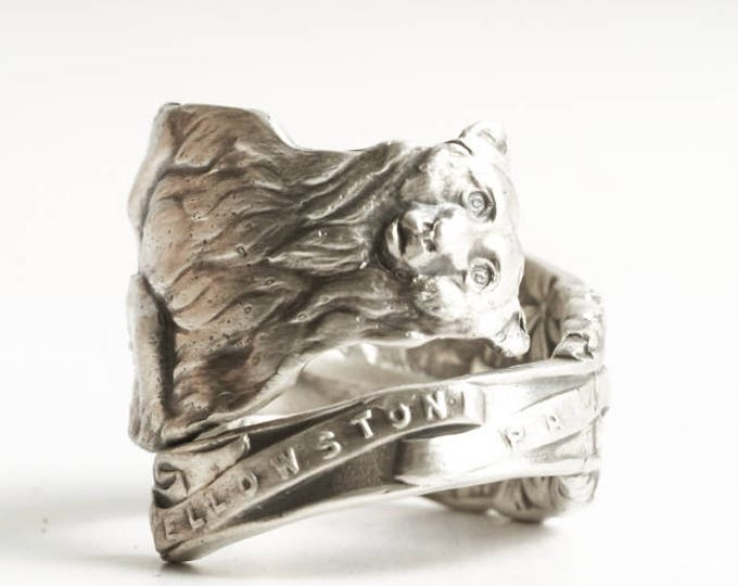 Mama Bear and Cubs, Bear Ring, Spoon Ring Sterling Silver, Bear Family, Montana Wyoming, Wild Animal Ring, Yellowstone National Park (4151)