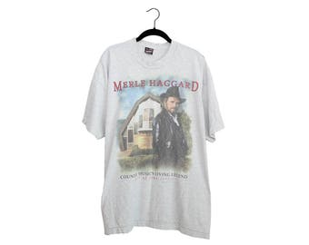 Vintage Merle Haggard  1995 Tour Shirt Light Heather Gray Crewneck T-Shirt, Made in USA - XXL