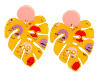 Tropical Leaf Retro Pink Yellow Long Big Earrings - Palm Monstera Banana Memphis Style 80's 70's Print Summer Vintage Bold Colorful