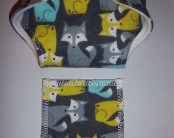 Baby Doll Diaper/wipes -cute posed baby foxes, turquoise, lime green, gray - See Shop Special - adjustable for many dolls such as bitty baby