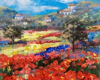 """Tuscany Landscape Scenery with  Poppies Landscape Original painting 6 x 6"""""""