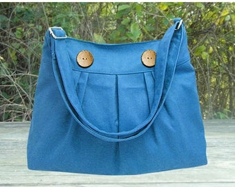 On Sale 20% off Blue cotton canvas messenger bag, shoulder bag, diaper bag,cross body bag, zipper closure