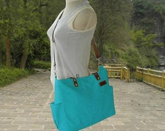 On Sale 20% off Turquoise canvas travel messenger bag, tote bag with name tag, messenger bags for women, leather strap shoulder bag, school