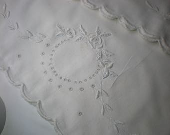 Vintage Set of 2 Embroidered White on White Pillow Cases
