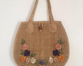 1960's straw/raffia purse floral design summer handbag