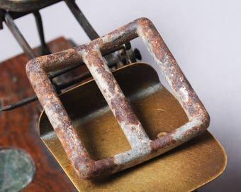 Antique primitive metal belt buckle, finding
