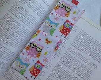 Owls Bookmark / Fabric Bookmark / Pink / Owls / Bookmark