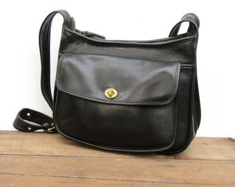 Vintage Coach Bag // Coach Leather Taft Saddle Bag in Black Leather //  Coach Crossbody Bag