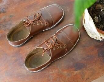 Vintage Leather Shoes Mens Size US 8,5 /UK8 / EU42 Brown Soviet 80s Dress Shoes