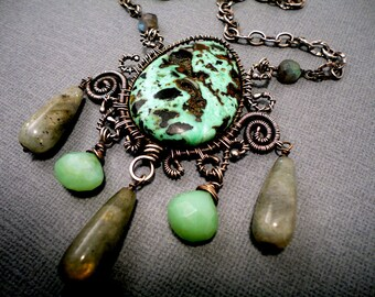 Turquoise and Sterling Silver Wire Wrapped Necklace