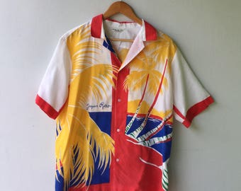 1980s Vintage Hawaiian Shirt in Primary Colors // Size Large