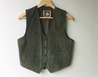 1980s Vintage Hunter Green SUEDE Snap up Vest // Mans Xs - Womans Med