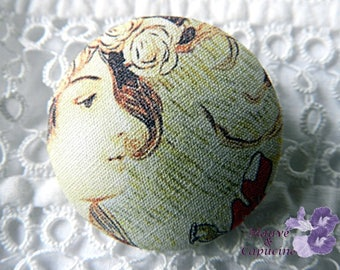 Button printed fabric woman,0.94 in / 24 mm